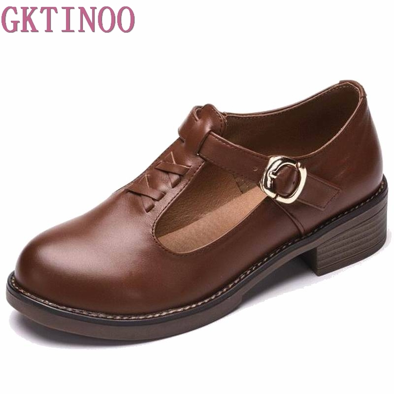 Spring Autumn Shoes Woman 100% Genuine Leather Women Pumps Lady Leather Round Toe Platform Shallow Mouth Shoes Size 35-40 women shoes spring autumn 100
