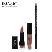 Professional IMAGIC Makeup lip Waterproof Long Lasting Lipgloss+ Lipstick+ LipLiner Pencil Makeup Set Long Lasting Lipstick