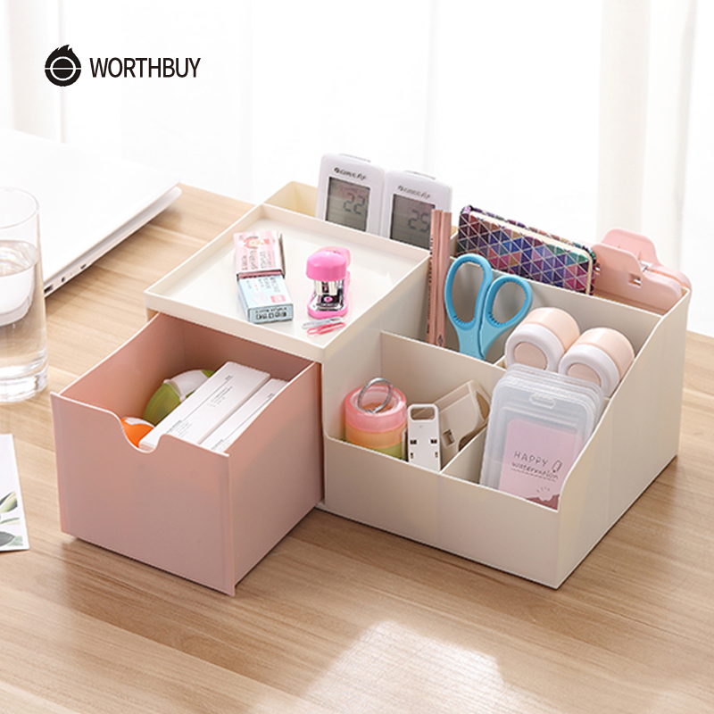 WORTHBUY Multifunctional Makeup Organizer Box Japanese Plastic Desktop Organizer Cosmetics Box Bathroom Makeup Storage Container makeup organizer box