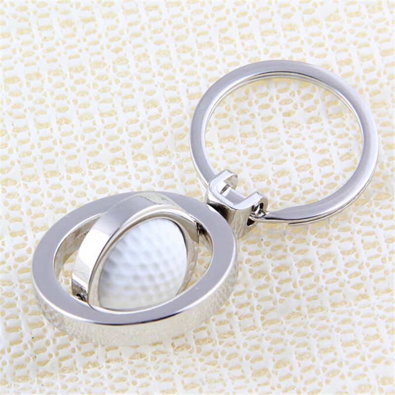 Fashion Zinc Metal Alloy Golf Key Chains Key Rings Silver Tone Round Circle Connected Alloy Creative Key Holder Wholesale
