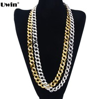 High Quality Special 30 CUBAN LINK Necklace SILVER Tone 14 MM Wide ICED OUT CZ Hip
