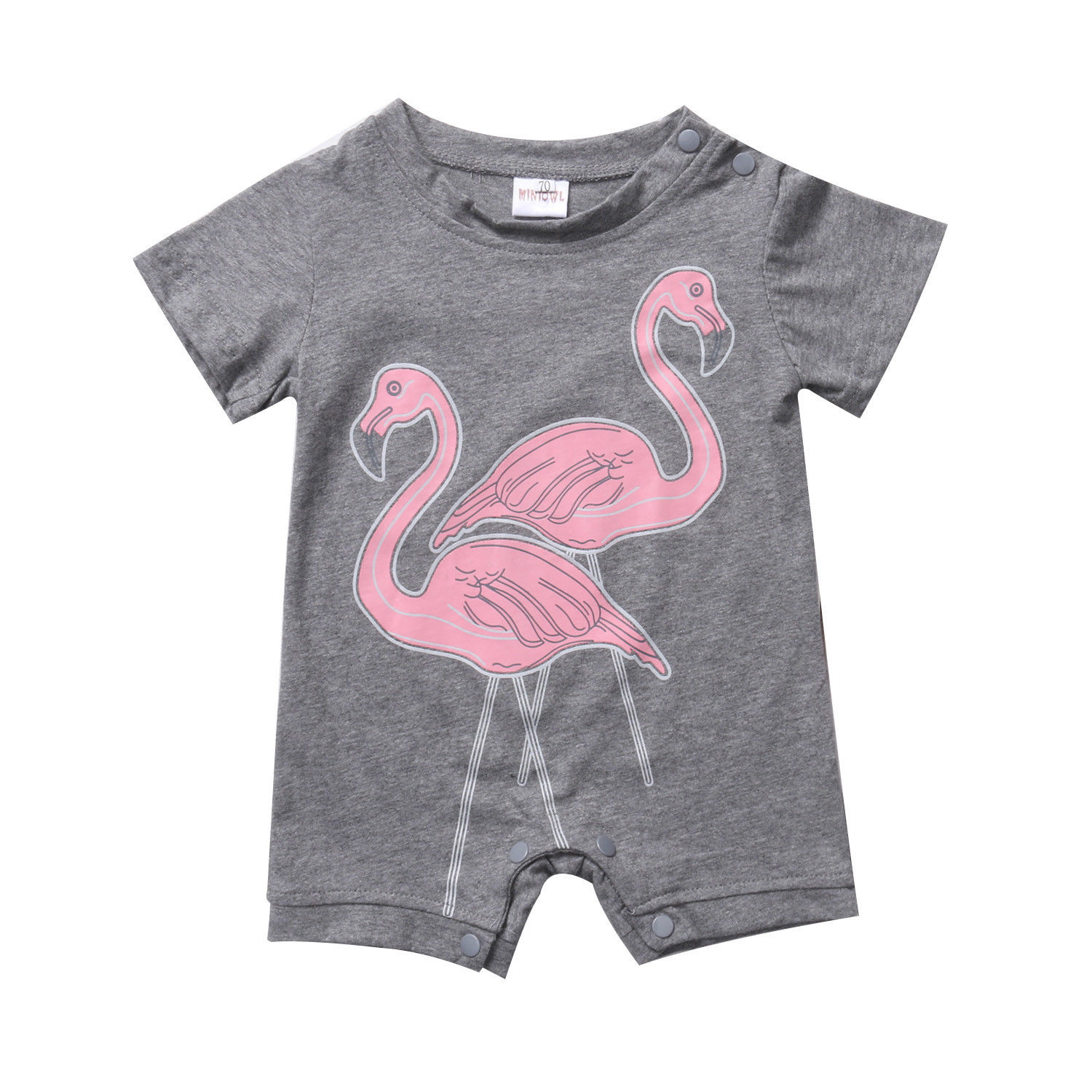 Cotton Toddler Newborn Baby Boy Girl Kid Short Sleeve Flamingo Romper Jumpsuit Outfit Clothes baby girl 1st birthday outfits short sleeve infant clothing sets lace romper dress headband shoe toddler tutu set baby s clothes