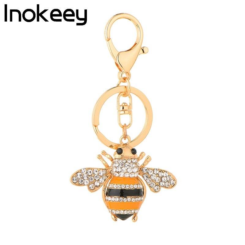 Inokeey Alloy Yellow Enamel Rhinestone Bee Key Chain Կանայք - Նորաձև զարդեր - Լուսանկար 1