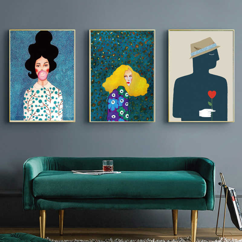 Nordic Modern Style Handdraw Characters Colorful Canvas Poster Nordic Giclee Classic Artwork for Living Room Bedroom Decor pop