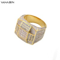 VANAXIN Ring Silver 925 Men Wide Finger Party Hip Hop Jewelry Cubic Zircons Iced Out Paved Gold/Silver Color Male Rings Gift Box