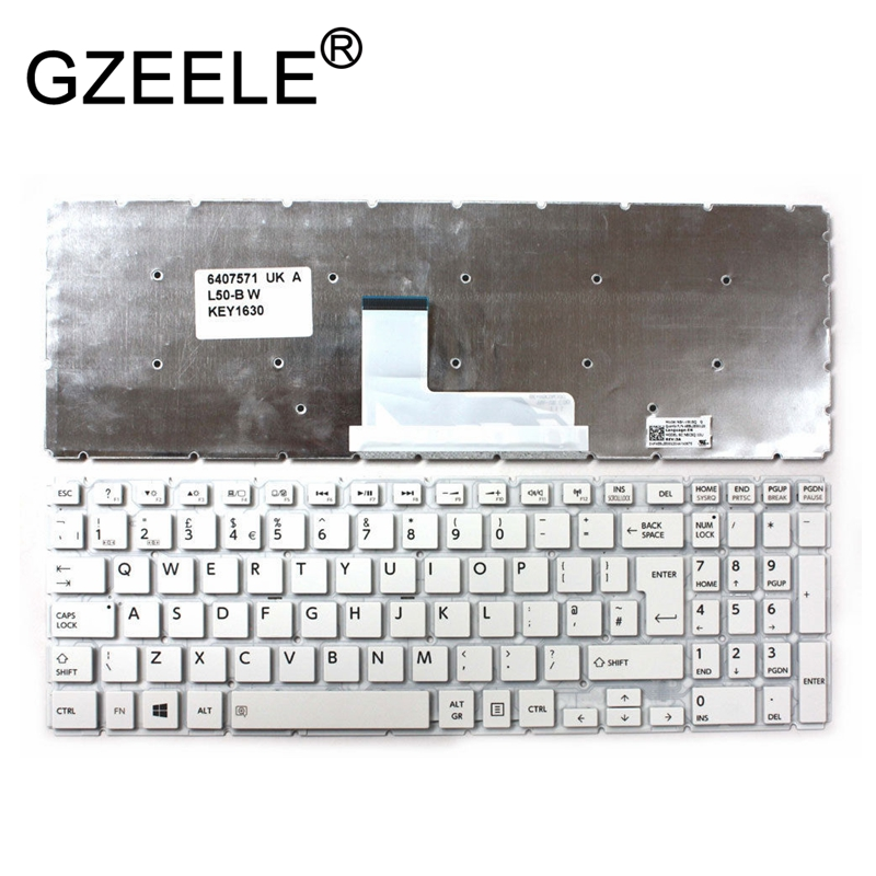 GZEELE UK Keyboard For Toshiba Satellite L55-B L50-B S55-B S50-B L55DT-B S55T-B S55D-B WHITE