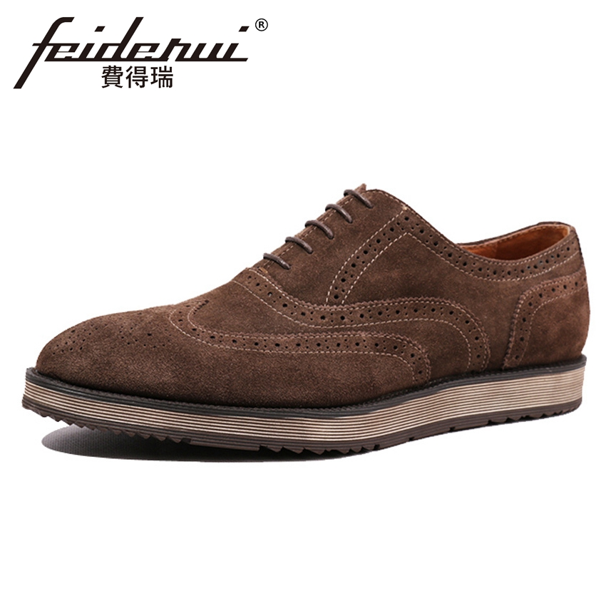 British Formal Dress Handmade Cow Suede Leather Mens Carved Oxfords Round Toe Flat Platform Man Wingtip Brogue Shoes HQS198British Formal Dress Handmade Cow Suede Leather Mens Carved Oxfords Round Toe Flat Platform Man Wingtip Brogue Shoes HQS198