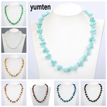 Yumten Aquamarine Necklace Cluster Choker Gemstone Woven Jewelry Natural Stone Healing Crystal Ladies Bead Chain Accessories yumten agate necklace gemstone beads natural stone colares women jewelry crystal accessories statement females chain gioielli