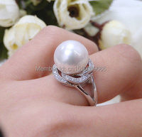 FREE SHIPPING >>ONE big size 11-12mm AAAA SHELL pearl ring jewelry