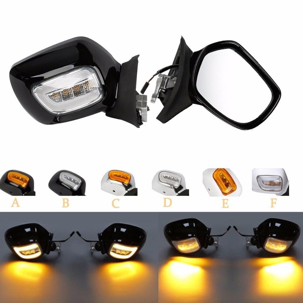 Moto Black/Chrome/Bianco Retrovisore Specchi LED Indicatori di direzione Per Honda Goldwing GL1800 01-12 01 02 03 04 05 06 07 08 09 10