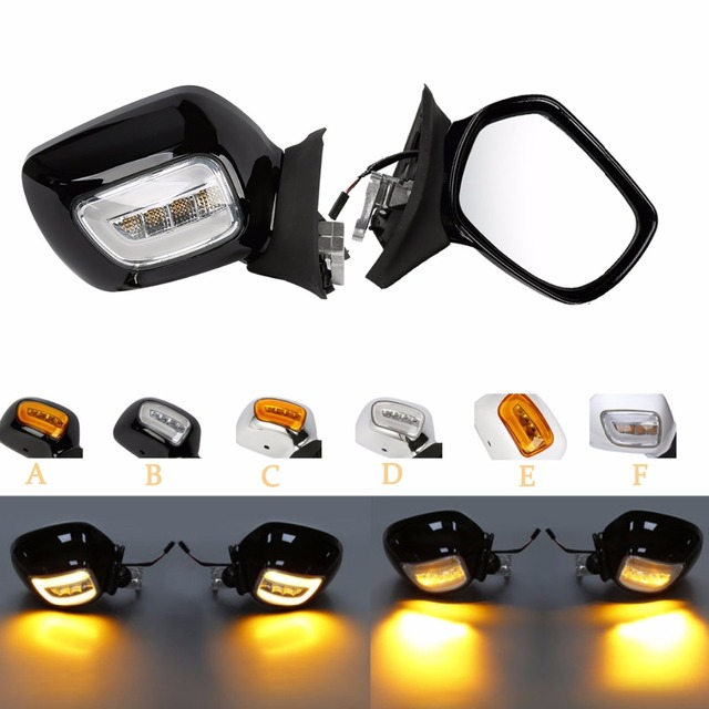 Motorcycle Black/Chrome/White Rearview Mirrors LED Turn Signals For Honda Goldwing GL1800 01-12 01 02 03 04 05 06  07 08 09 10