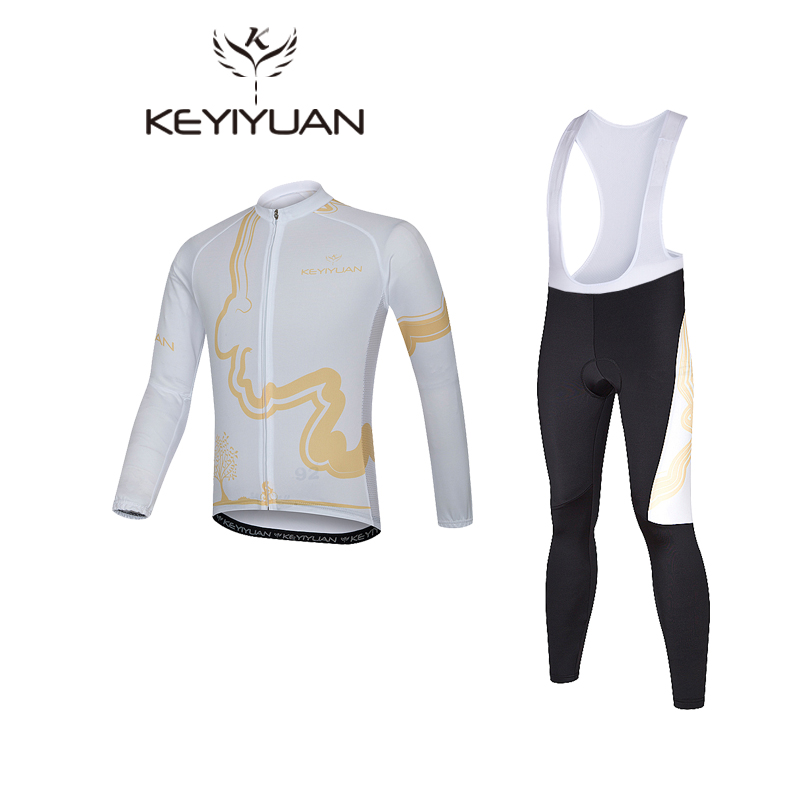 KEYIYUAN White Spring Autumn Cycling Jersey Long Sleeve Windproof Reflective Bicycle Clothing Road MTB Bike Jersey Cycle Wear women s long cycling clothing mountain bike kit reflective cycle jersey
