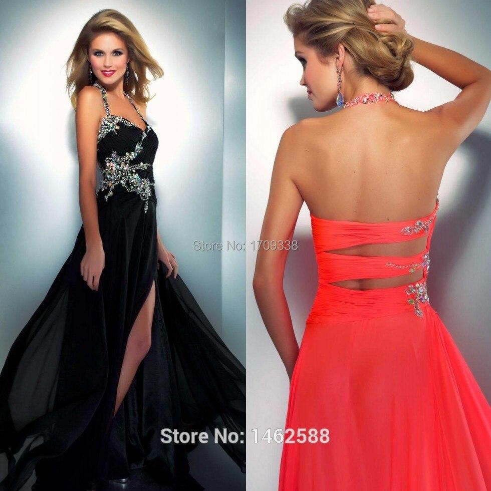 979e367138c1 Neon Coral Black Chiffon Long Beaded Prom Dresses 2016 Hot Sale Women Ball  Evening Gowns bakless high hollow sexy prom dress-in Prom Dresses from  Weddings ...