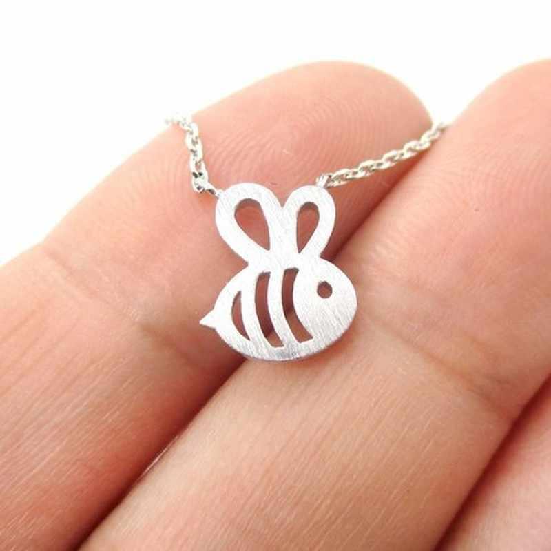 Nowy śliczny zwierzęcy Bumble naszyjnik pszczoła kobiety złoto srebro dziecko biżuteria śliczny owad naszyjnik charms dla dziewczyny prezent