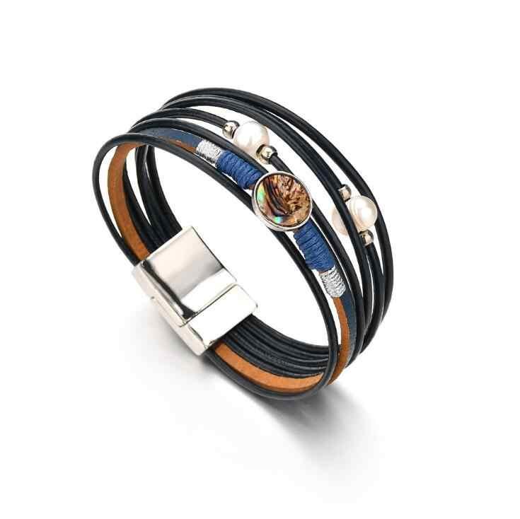 Wysoka jakość w stylu Vintage wielu warstw skórzane bransoletki dla kobiet mężczyzn nowe symulowane perły moda Charms bransoletka Femme biżuteria