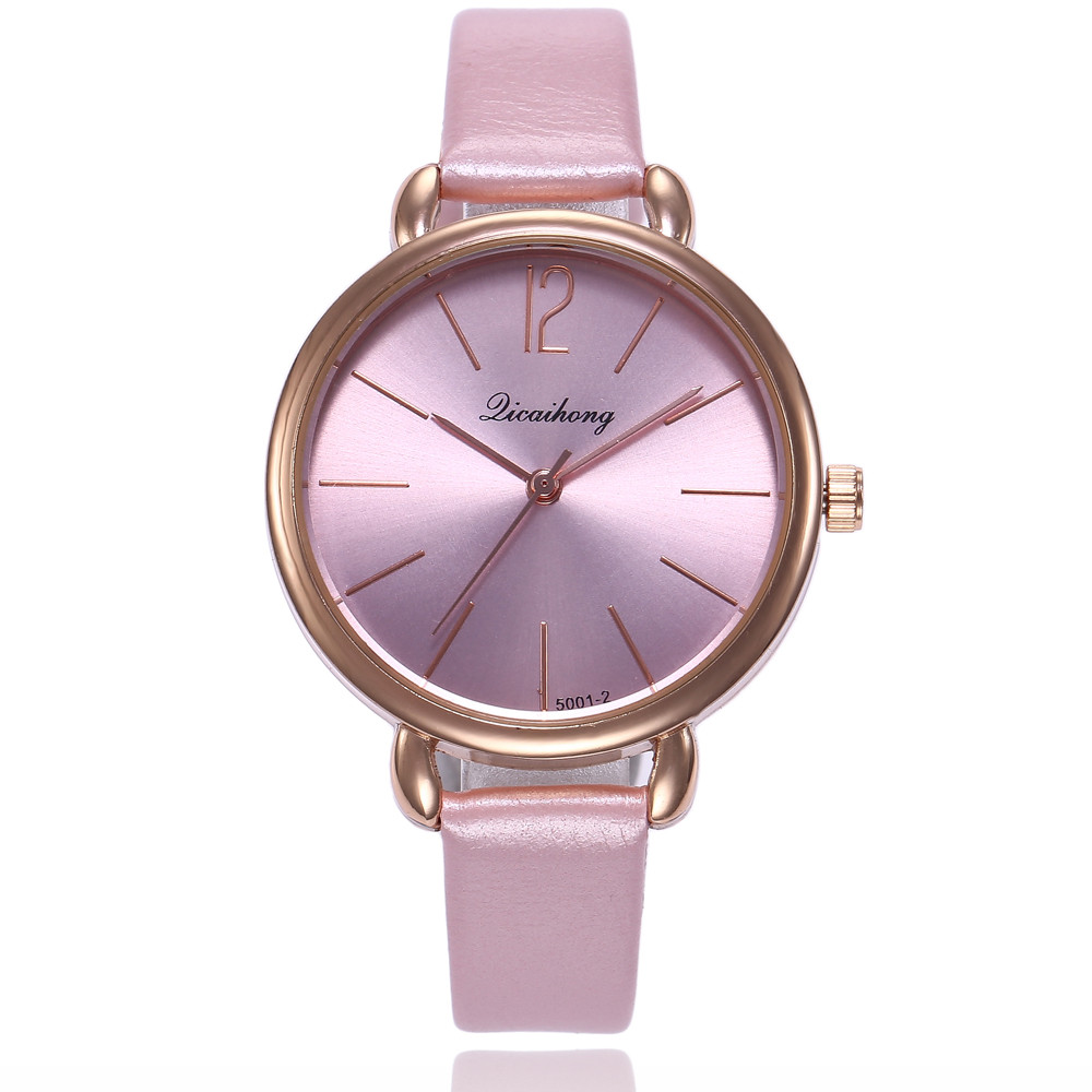 Hot Women's Leather Watch #5001-2 Simple Solid Color Scale Stainless Steel Dial Fashion Quartz Wrist Watch montre femme a65