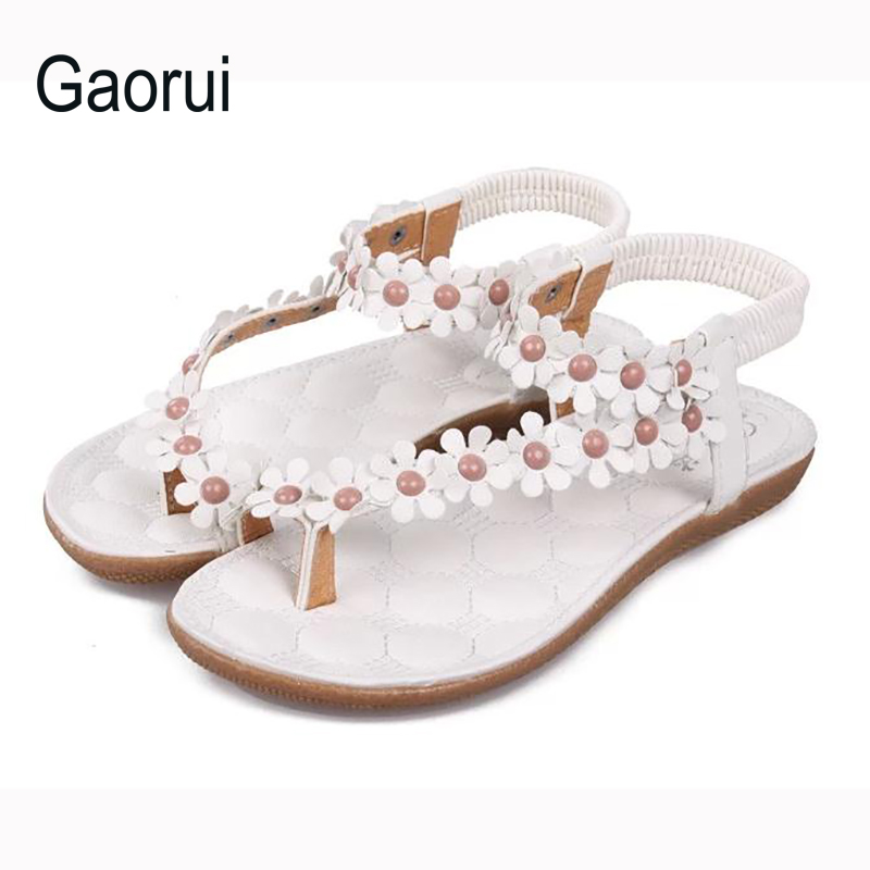 New Brand Women Flower Sandals Princess Sweet Sandal For Women Beach Shoes Girl Summer Fashion Flats Elastic Strap High Quality new 2017 spring summer women shoes pointed toe high quality brand fashion womens flats ladies plus size 41 sweet flock t179