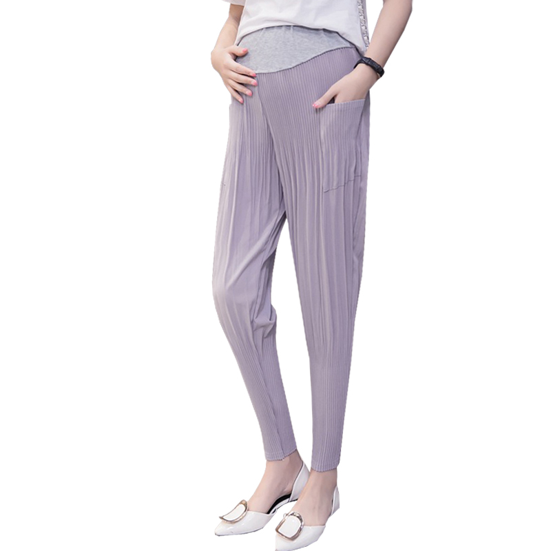 High Waist Chiffon Maternity Pants For Pregnant Women Clothes Casual Pregnancy Haren Pants Cropped Trousers Prop Belly Nursing