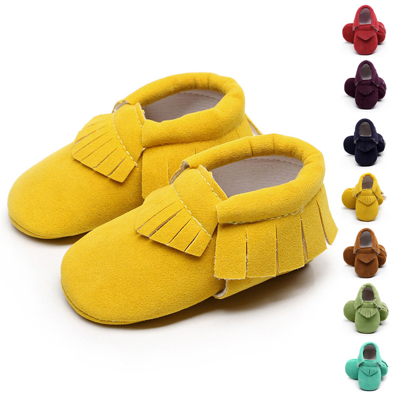 PU Suede Leather Newborn Baby Boys Girls Soft Sole Shoes Baby Moccasins Infant Fringe Non-slip Footwear Crib Shoes First Walkers
