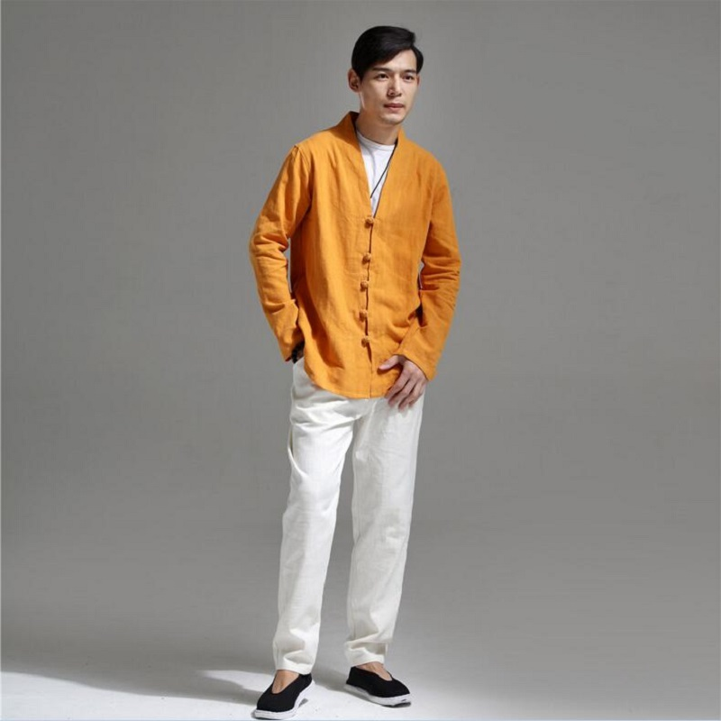 Casual Chinese Shirts Men Cotton Linen Designer Brand Slim Fit Man Shirts Long Sleeve White Shirts For Men Clothes Autumn