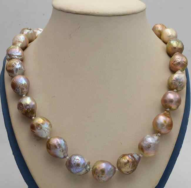 "Natural 14x17mm Reborn Baroque Edison Pearl Knot Jewelry Necklace 18"" AA 36"""