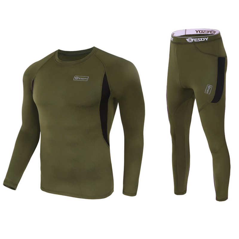 Зимние мужские комплекты термобелья компрессионное флисовое быстросохнущее эластичное термобелье для мужчин одежда для фитнеса длинный Джон