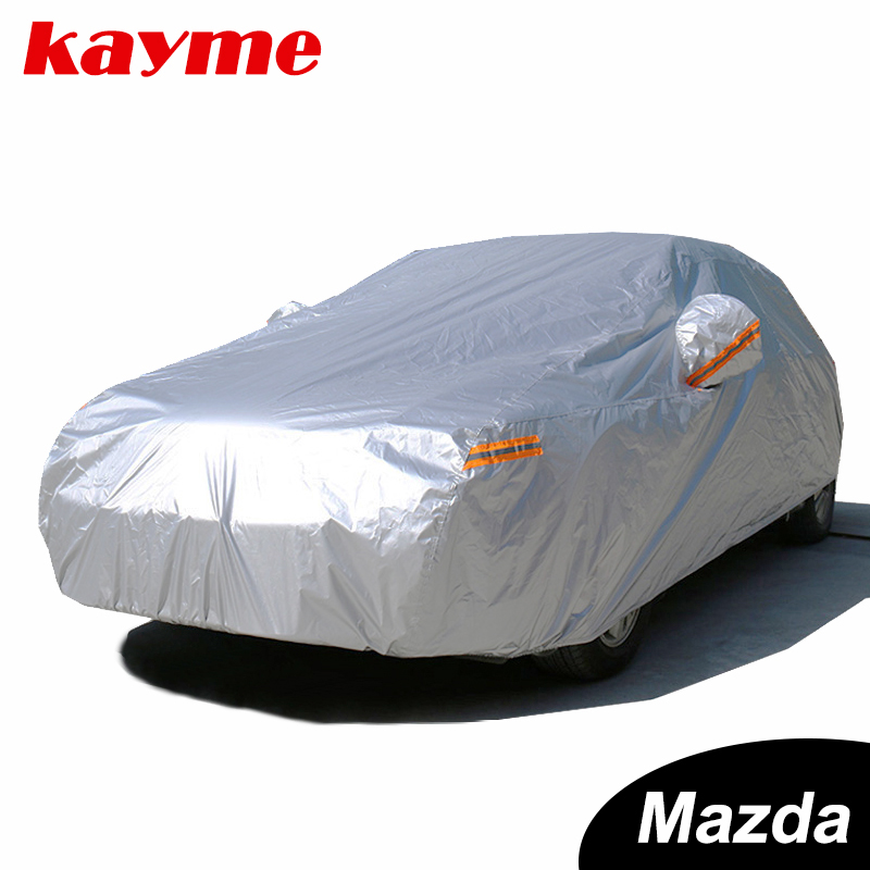 Kayme Waterproof Full Car Covers Sun Dust Rain Protection Car Cover Auto Suv Protective For Mazda 3 2 6 5 7 CX-3 Cx-5 Cx-7 Axela