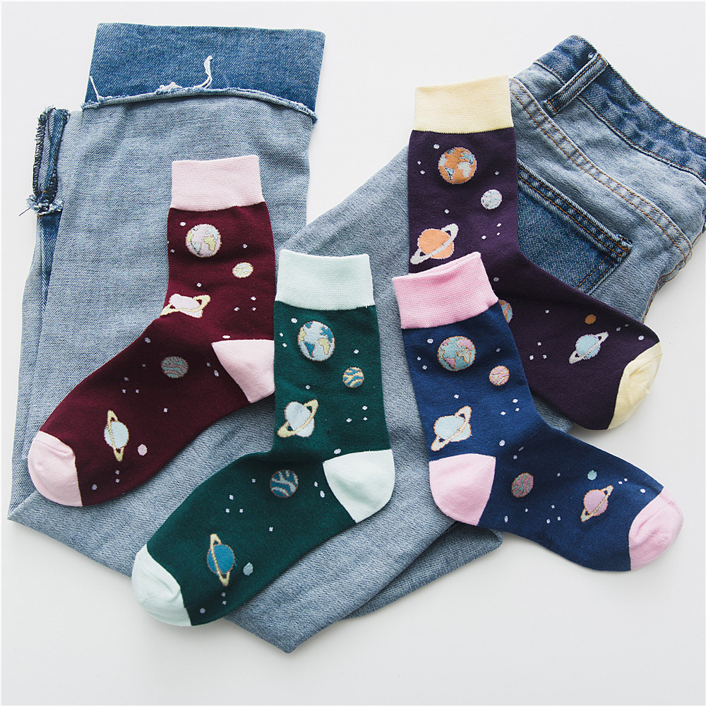 New Cute Space Planet Starry sky Women Harajuku Novelty Soft Warm Tube   Socks   funny Jacquard Creative Cartoon Patterned Art   Socks