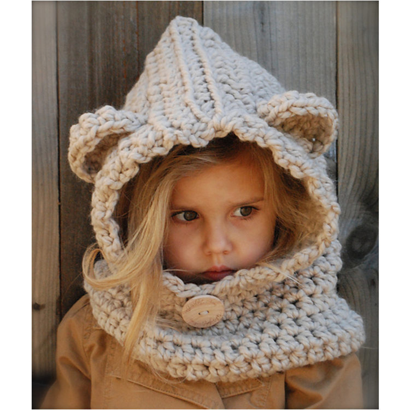 IANLAN Funny Little Bear Hats Scarves Girls Dual Use Beanies Rings Lovely Children Winter Warm Kids Scarf Hat Set IL00182