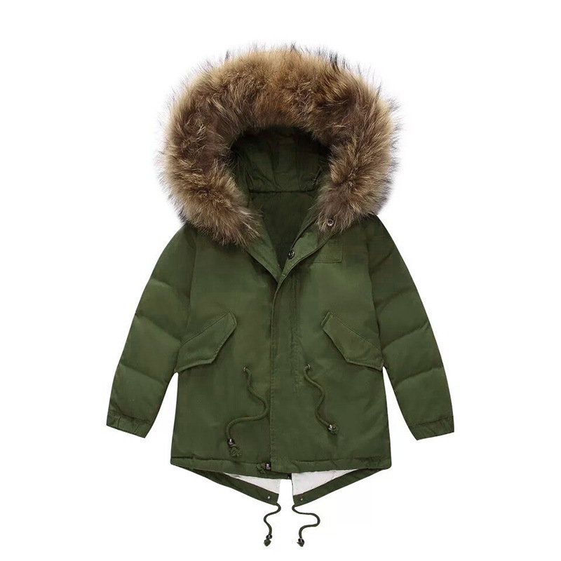 high-quality Family Matching jacket winter new boys and girls big raccoon fur collar white duck down thicken down jacket 2016 rabbit hair in the cotton coat big raccoon fur collar jacket
