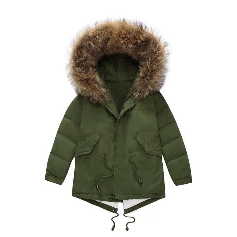 high-quality Family Matching jacket winter new boys and girls big raccoon fur collar white duck down thicken down jacket мужская бейсболка 11 cayler snapback