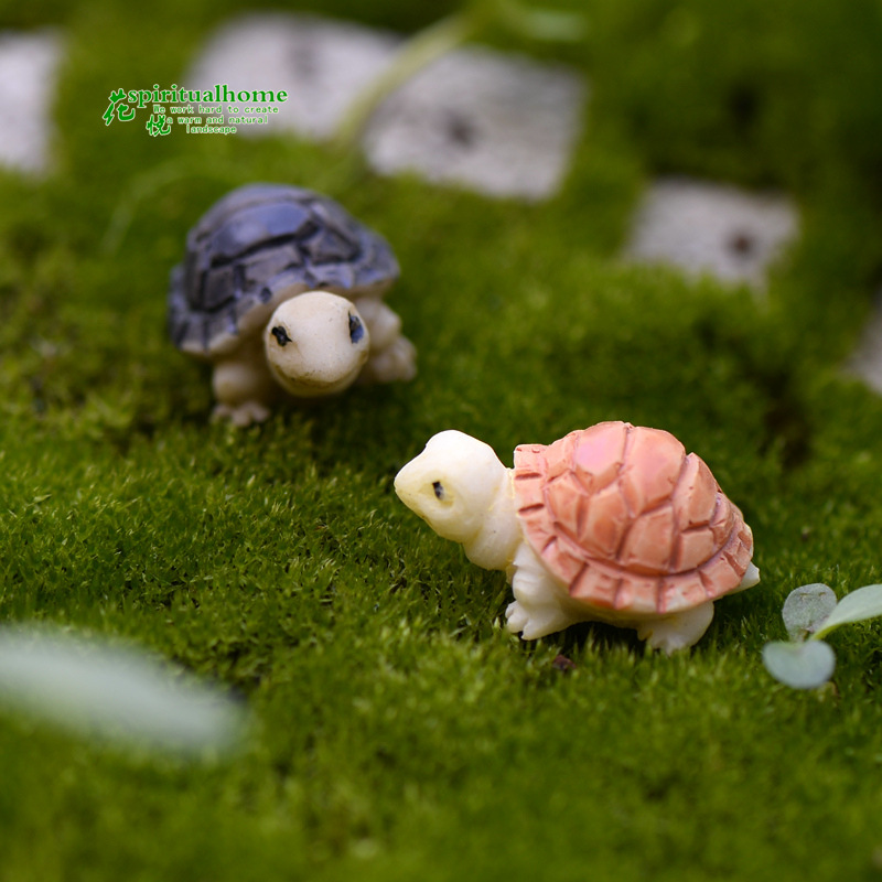 2pcs/lot Two colors Small turtles Moss micro landscape succulents ornaments and small decoration materials DIY