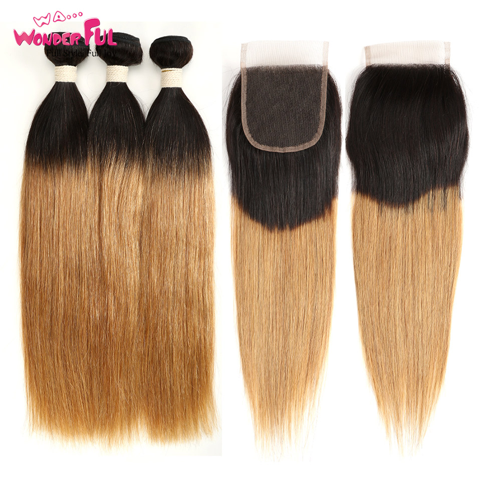 Peruvian Straight Hair Ombre Bundles With Closure Human Hair Omber Blonde Bundles With Closure Non Remy