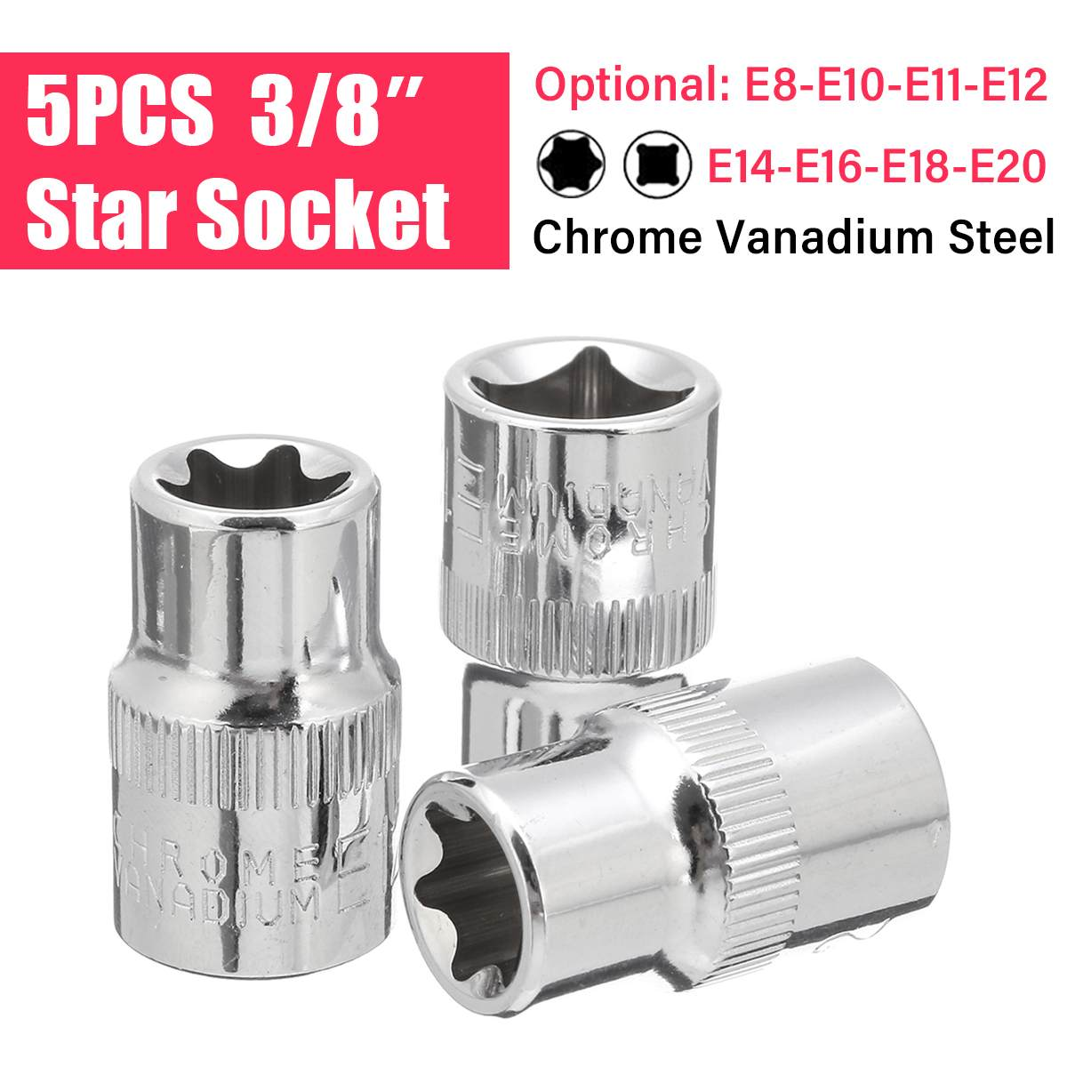 5pcs 6 Point Star Socket Hand Tools E-shape Wrench Head E8 E10 E11 E12 E14 E16 E18 E20 Professional Metalworking Car Repair Tool