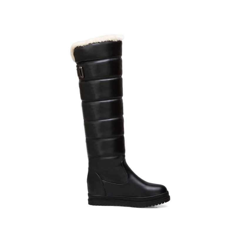 EGONERY kadın ayakkabı kış yeni peluş sıcak eğlence kar botları med yüksekliği artan platform slip-on yuvarlak ayak diz yüksek çizmeler