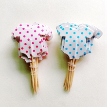 Wholesale 720pcs Cute Red Blue Baby clothes suit Cupcake Toppers Decoration Birthday Party boy girl Cake flag Child Supplies
