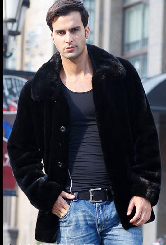 S/3Xl Mens Winter Faux Mink Fur Jacket Male Long Casual Fur Overcoats Black Plus Size Single Breasted Coats Casaco De Pele J1361