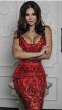 عالية الجودة مثير أكمام الترتر الأحمر الركبة طول ضمادة اللباس 2018 مصمم فساتين راقية Vestido