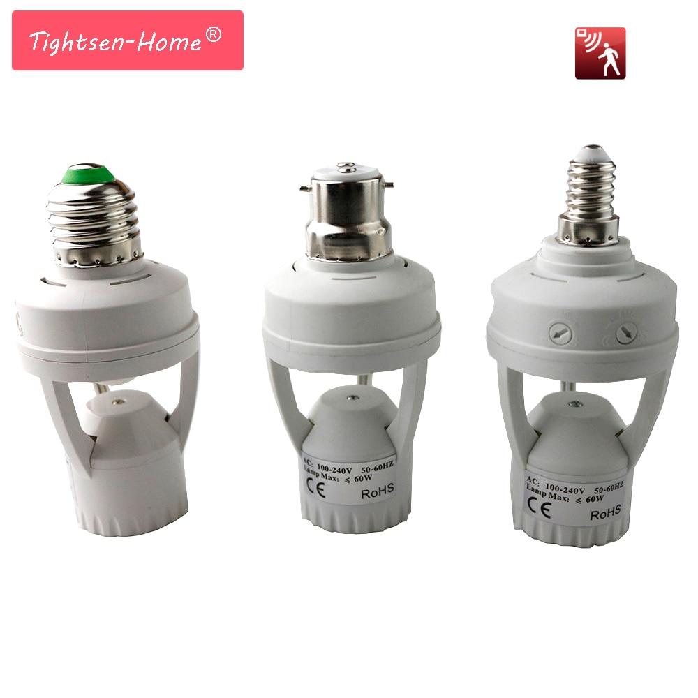 Smart 110V 220V PIR Induction Infrared Motion Sensor LED Lamp B22 E27 E14 Base Holder With Light Control Switch Socket Adapter