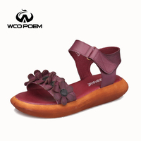 Women Sandals Cow Leather Flat Sandals Low Wedges Summer Shoes Women Open Toe Thick Bottom Sandals