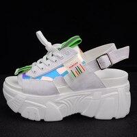 8cm Platform Sandals Women Wedge High Heels Shoes Women Peep Toe Shoes Summer Woman Lace Up Sandal Black Blue White