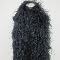 YY tesco 2 Meters fluffy ostrich feather boa skirt Costumes/Trim for Party/Shawl/Craft black feather boa in wedding decorations