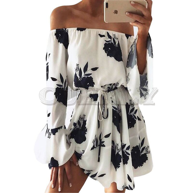 Summer 2019 Women Boho Beach Dress Off Shoulder Flare Sleeve Dress Floral Print Loose Casual Women Clothes Sexy Party Mini Dress in Dresses from Women 39 s Clothing