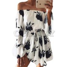Summer 2019 Women Boho Beach Dress Off Shoulder Flare Sleeve Dress Floral Print Loose Casual Women Clothes Sexy Party Mini Dress black random floral print off the shoulder mini dress