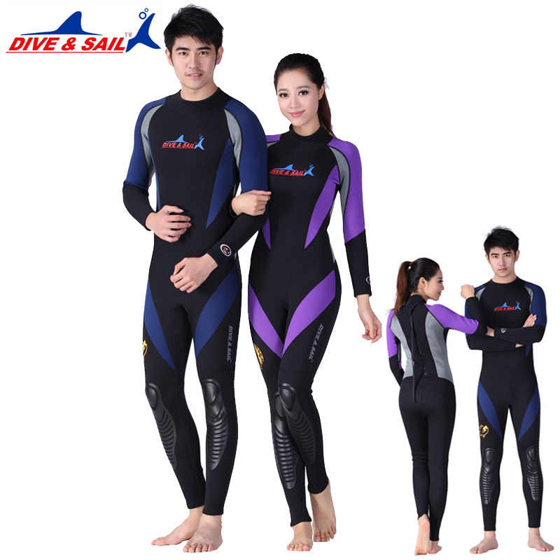 1.5MM Neoprene Long Sleeved One-piece Lovers Wetsuit Men Women Snorkeling Jumpsuit Full Body Dive Wet Suit Warm Winter Swim Surf