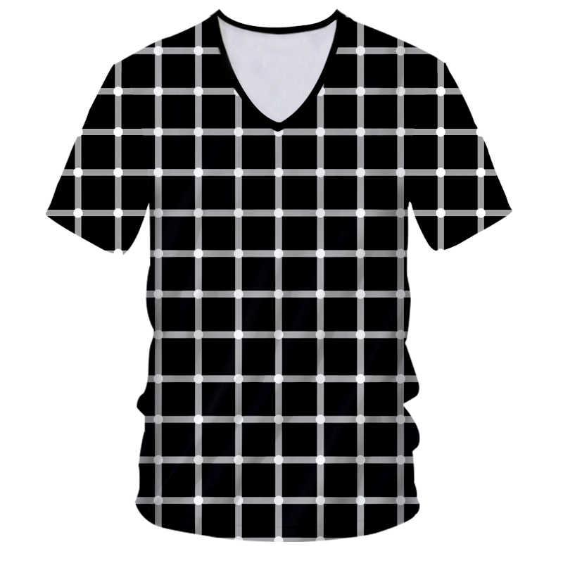 CJLM 2019 الذكور 3d الخامس الرقبة تي شيرت زيبرا الصيف T قميص أعلى بارد منقوشة الماس الورك هوب مصنع زائد حجم 7XL