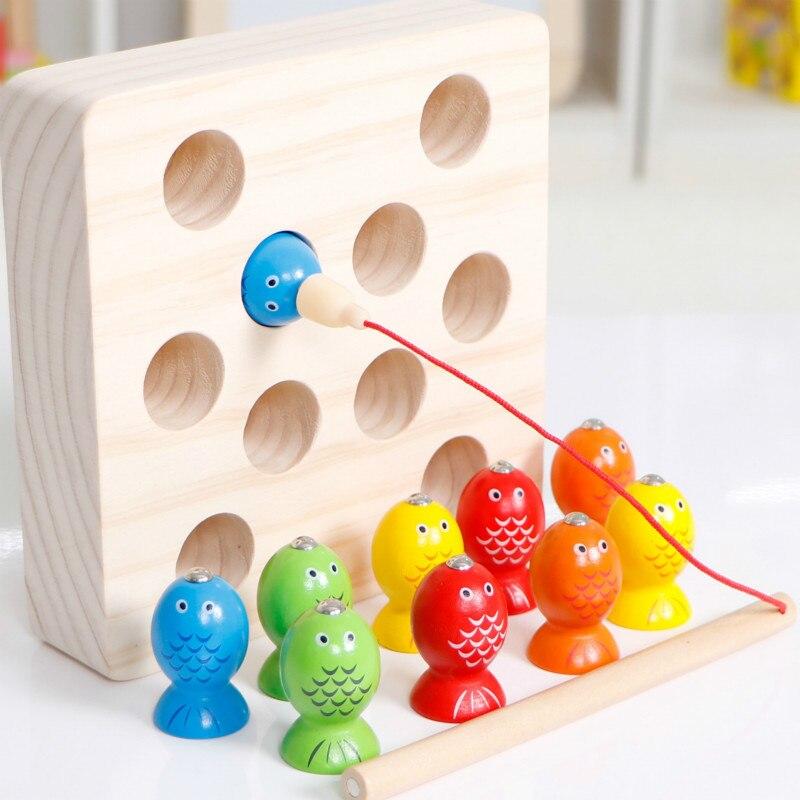 Bambini Montessori Giocattolo 3D Cattura La Insetto Magnetico di Pesca Giocattoli di Legno Per I Bambini Oyuncak Brinquedos Juguetes Brinquedo
