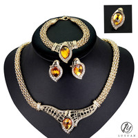 Luxury Indian Vintage Big Crystal Wedding Jewelry Leaf Pendant Gold Color Alloy Jewlery Set Necklace Earrings