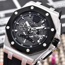 Роскошные брендовые новые мужские часы кварцевые Секундомер-хронограф Сапфир из нержавеющей стали Серебристые черные резиновые люминесцентные спортивные часы AAA +