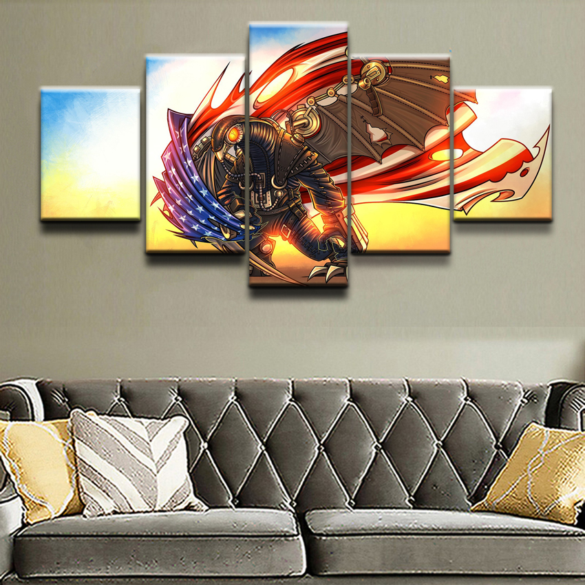 Painting Wall Art Game Poster Canvas Printed Modern 5 Panel Bioshock  Infinite Modular Pictures Home Decor For Living Room Draw In Painting U0026  Calligraphy ...